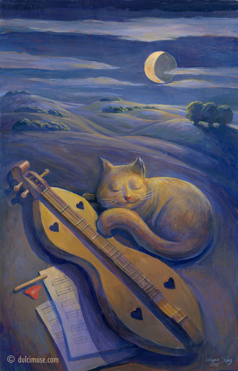 Sleeping Cat and Dulcimer Under Moonlight